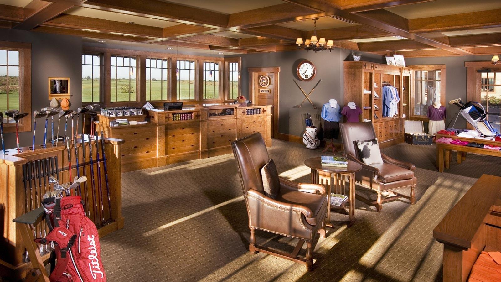 custom woodworking golf shop interior