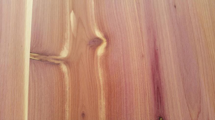 A detail shot of the grain of Aromatic Cedar.