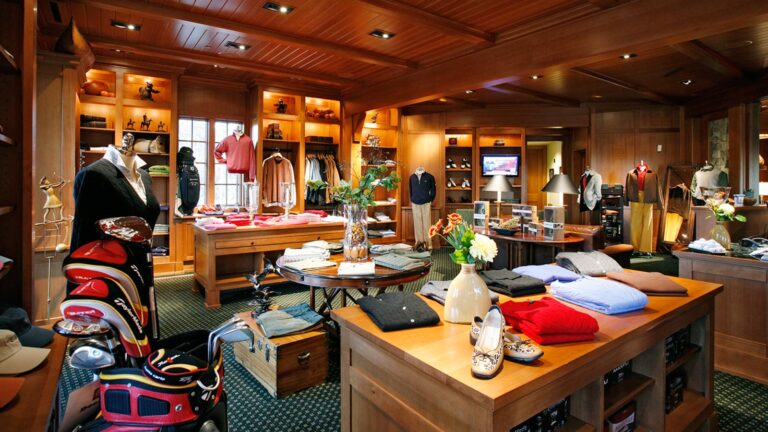 The Golf Pro Shop at the Reynold's Creek Club. Custom furniture with a warm stain finish. with