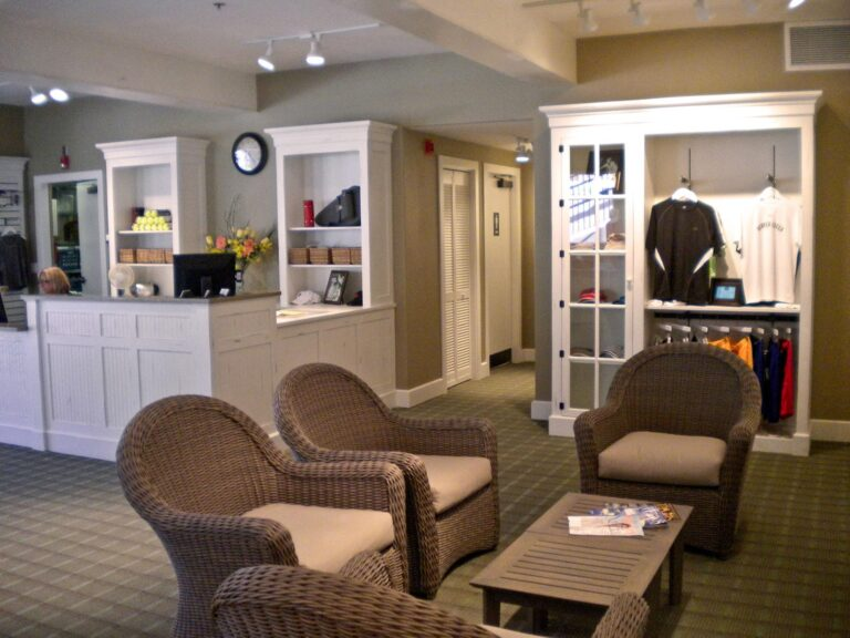 Shop lounge area and retail counter at Beaver Creek Tennis Club