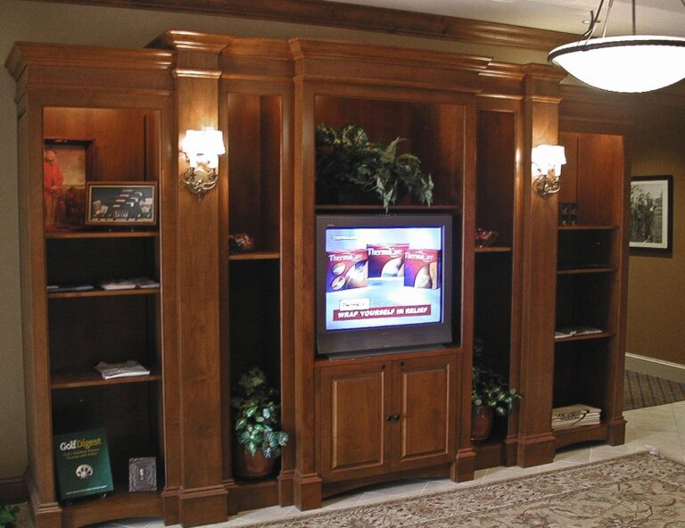 Display shelves and entertainment center at Mirasol Golf Shop
