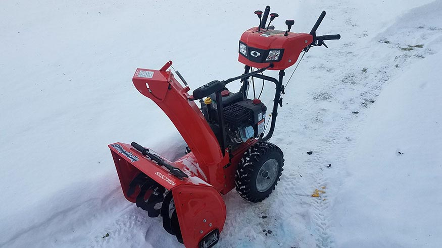 Our new cherry-red Simplicity Snowblower