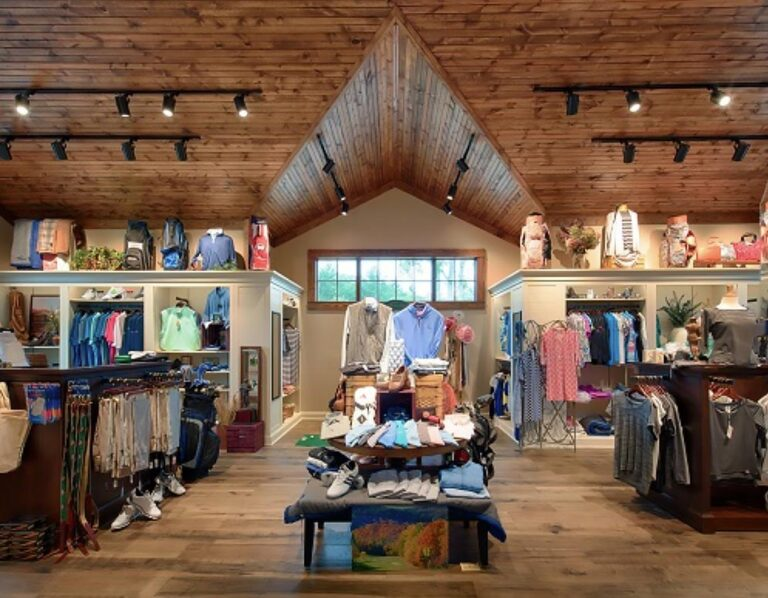 A view of the custom ceiling as well as merchandising displays and shelving at Lake Toxoway Golf Club